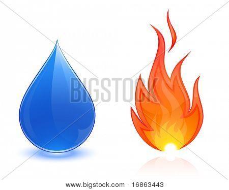 Incêndio e queda de água
