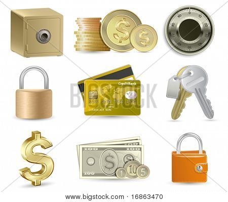 Conjunto de iconos de finanzas. Ilustración de vector altamente detallados.
