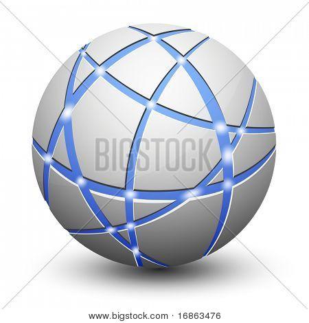 抽象地球图标。通信和网络的概念。