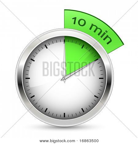 10 minutes. Timer vector illustration.