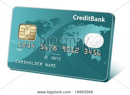 Credit or debit cards with world map and reflections. Payment concept.
