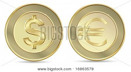 Gold coins. Dollar and euro.