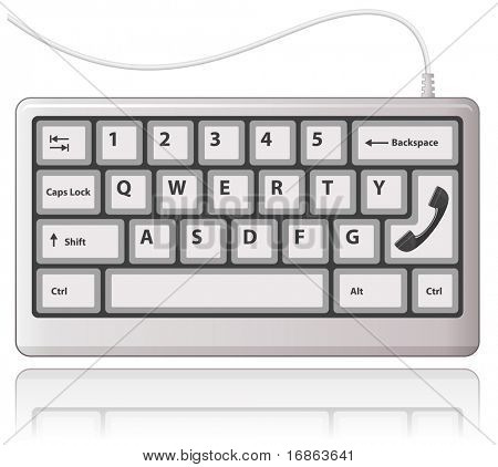 White keyboard and black phone receiver. Contact us icon.