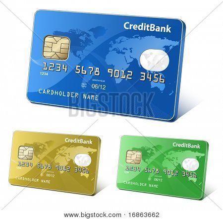 Tarjetas de crédito o débito con mapamundi y reflexiones. Concepto de pago. Colorida colección de crédito