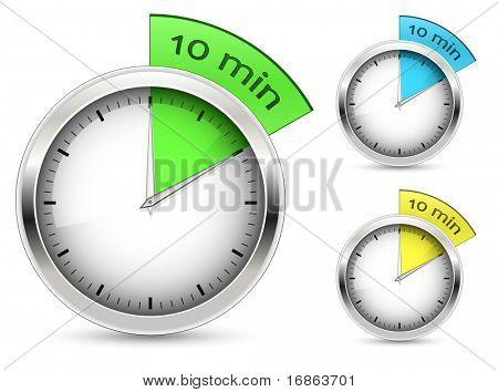 Satz von 10 Minuten Timer. Vektor-Illustration.