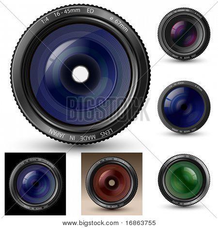 Colección de lentes de cámaras. Una ilustraciones de vectores de lente de cámara con reflejos realistas y sombra