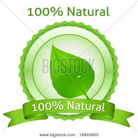 100% Natural. Vector natural label.