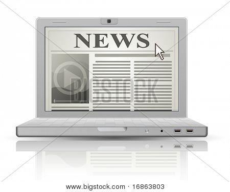 Jornal on-line. Site de notícias e portátil. Ícone de jornal de Web 2.0.