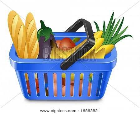 Shopping Basket With Food. Blue shopping basket full of products