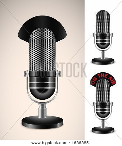 """On The Air"" Microphone Set. Highly detailed vector illustration."