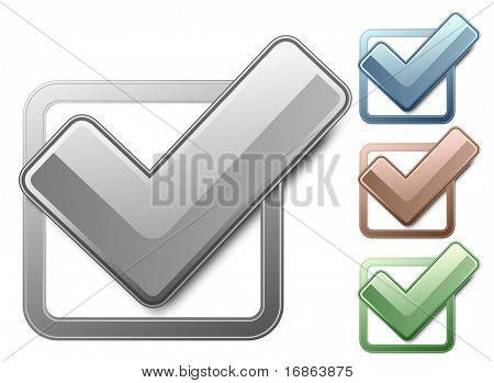 Casillas de verificación metálicas con marcas de verificación