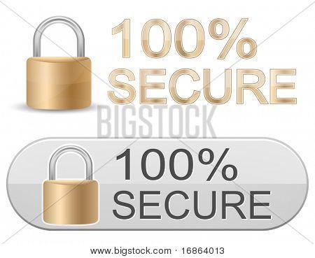Metallische Vorhängeschloss. 100 % Sicher. SSL-Zertifikate-Zeichen für Website.