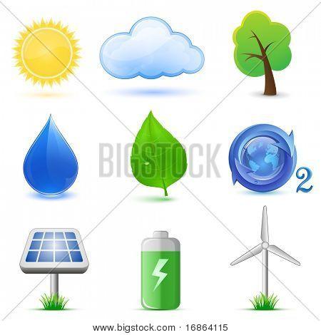 Eco-Symbole. Sehr detaillierte Vektor-Icons. Ökologie und Umwelt-Symbole.