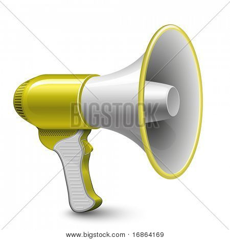 Yellow Megaphone. Highly detailed vector illustration.