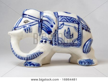 Porcelain elephant - Indian unauthorized art - folklore
