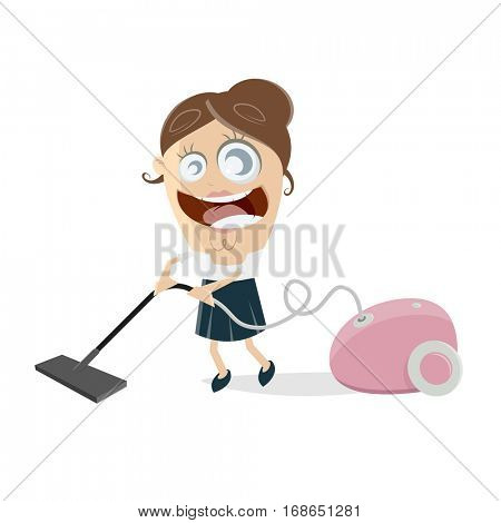 clipart of a happy woman with vacuum cleaner