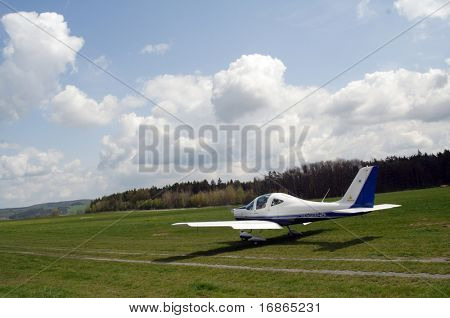 Sports plane in  in airport Plasy - Czech Republic Europe