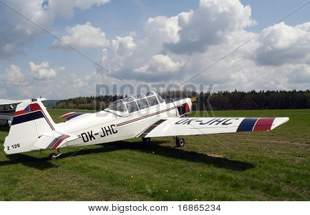 Czech training plane Zlin 126 in airport Plasy - Czech Republic Europe