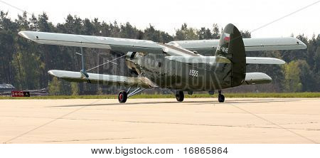 Historic plane paratrooper Antonov An-2 air-landing sortie in airport Line - Czech republic Europe