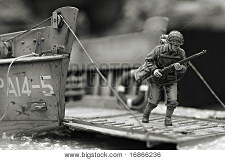 Erste Marine in Iwo Jima Strand WW2 - Kunststoff Modell 1/72 Skala - extrem closeup