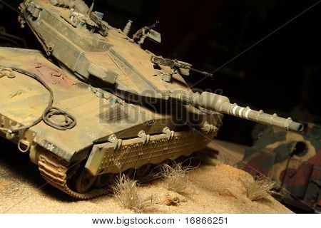 Modern israeli Merkava tanks in action - plastic model 1:72 scale - extremely closeup