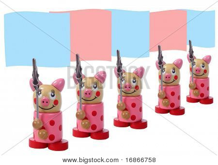 Piglets demonstration - wooden puppet unauthorized homework