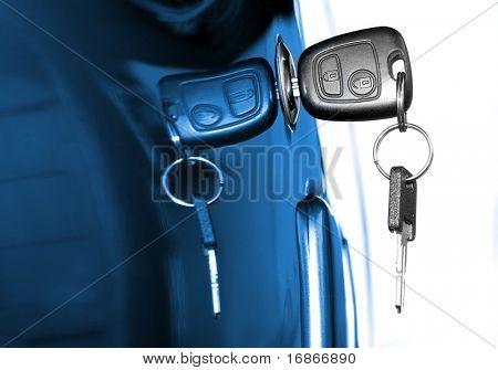Key at car doors - close up