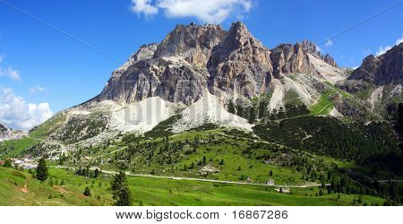 Sunny Alpine valley - Dolomite mountains - Italy