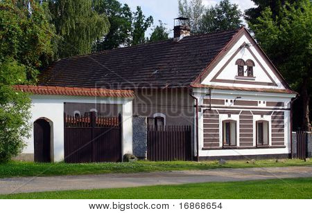 An example of a 19th century Czech traditional farm house in Western Bohemia - Czech Republic - Europe