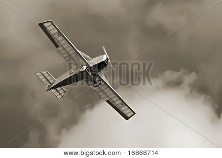 Historic plane on the sky - vintage photography