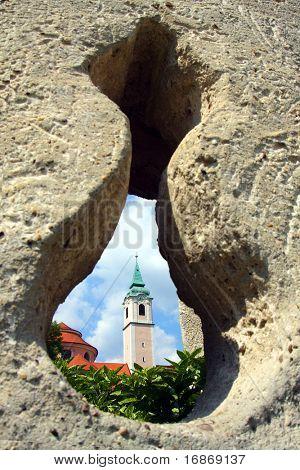 Weltenburg Abbey (Kloster Weltenburg) is a Benedictine monastery in Weltenburg in Kelheim on the Danube in Bavaria, Germany. View througt loop-hole.