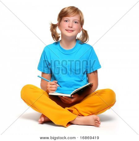 Portrait of a pretty girl with book.