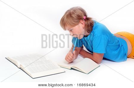 Portrait of a learning girl with opened books.