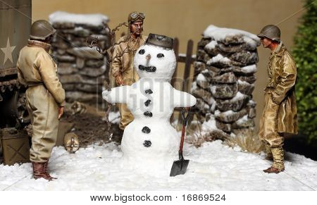 WWII scene - Three US army soldiers and Snowman. Plastic kit 1:32 Scale - Homemade work
