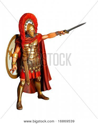 Spartan warrior in armor with sword - antiquity unauthorized wooden sculpture