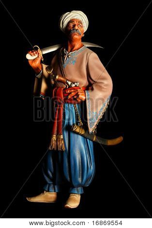 Islamic warrior with sabre - antiquity unauthorized wooden sculpture