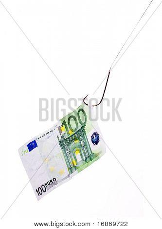 Dinero en el robo de gancho - metáfora de negocios - virtual