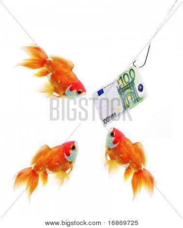 Dinero en el gancho y la metáfora del negocio de tres peces de oro