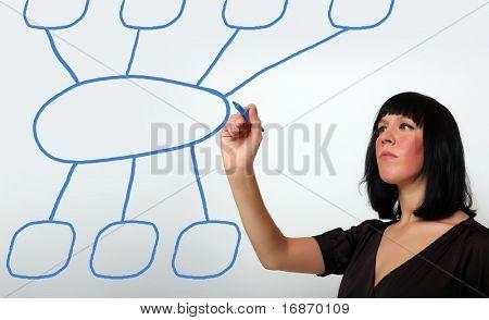 Businesswomen drawing a marketing diagram on a glass sheet