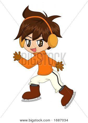 Cute Cartoon Boy Skating