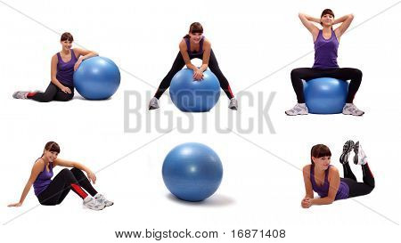 Beautiful sporty young woman in different position. Fitness collection. Active lifestyle.