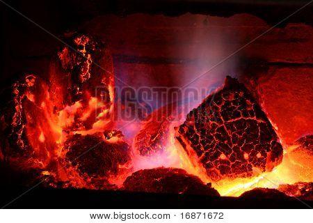 Burning brown coal - conceptual image - global warming.