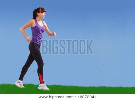 Running girl along meadows. Active lifestyle concept.