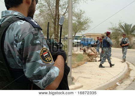 Iraqi TSU SWAT police road block