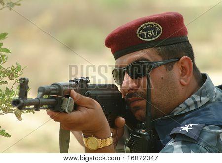 Iraqi Police Swat Officer With Kalashnikov Akm