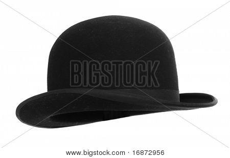 Black bowler hat against white background