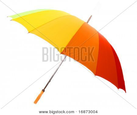 Studio shot of classic color-full umbrella isolated on white.