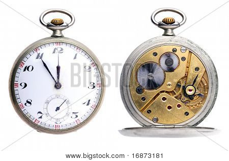 Set two pictures of opened old vintage pocket clock isolated on white background