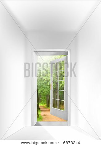 Opened door to early morning in green oak alley - conceptual image - business metaphor.