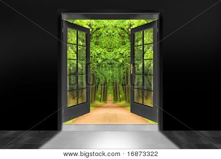 Darkness room with opened door to early morning in green oak alley - conceptual image - environmental business metaphor.
